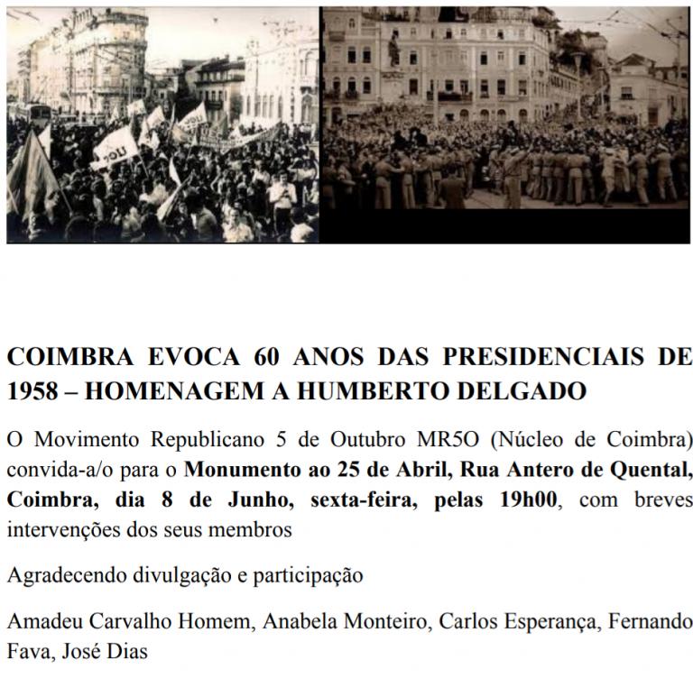 Jornal Campeão: Coimbra: Movimento extingue-se com evocação de Humberto Delgado