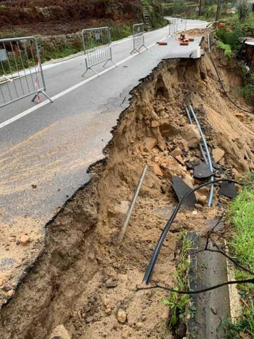 desabamento estrada Oliveira Hospital - ponte três entradas