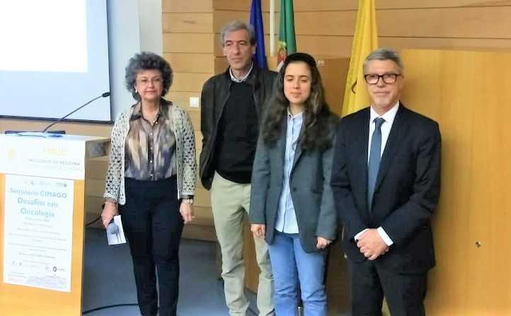 Isabel Carreira (CIMAGO); Vítor Rodrigues (LPCC); a investigadora Lúcia de Fátima Mendes Monteiro e Carlos Robalo Cordeiro