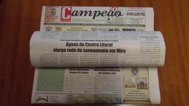 Jornal Campeão: Água do Centro alarga rede em Mira