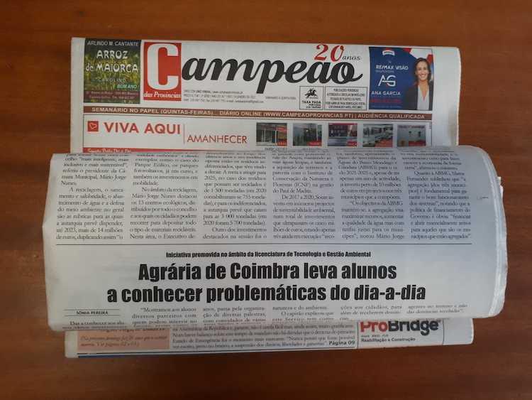 Jornal Campeão: Agrária de Coimbra leva alunos a conhecer problemáticas do dia-a-dia