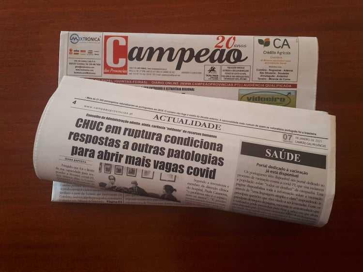 Jornal Campeão: CHUC em ruptura, condiciona respostas a outras patologias para abrir vagas covid-19