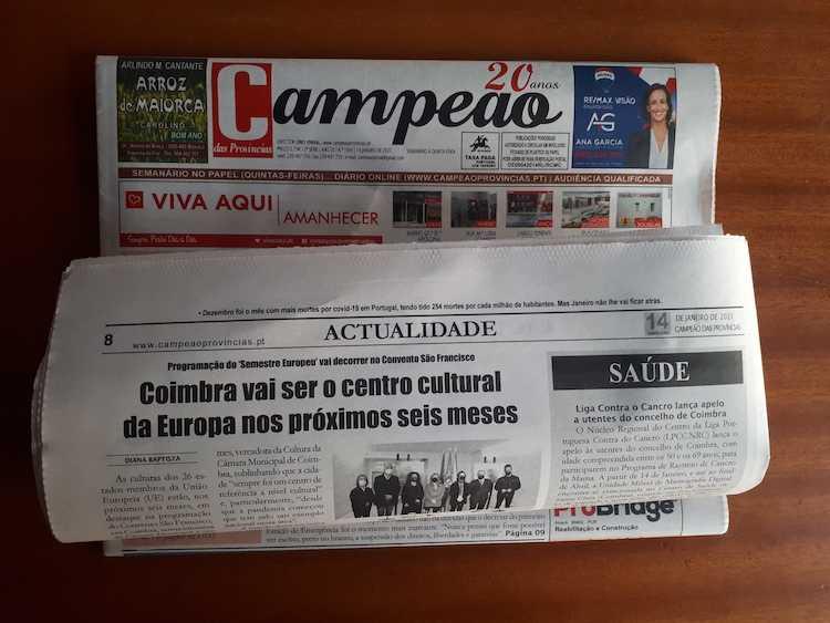 Jornal Campeão: Coimbra vai ser o centro cultural da Europa nos próximos seis anos