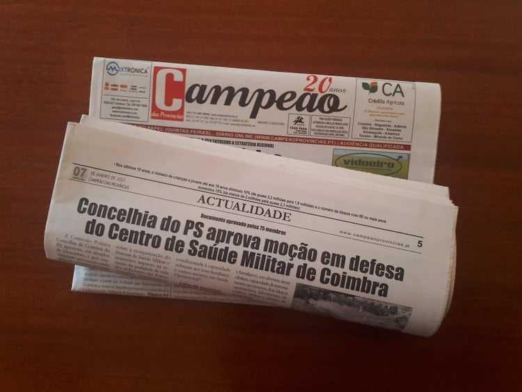 Jornal Campeão: Concelhia do PS aprova moção em defesa do Centro de Saúde Militar de Coimbra