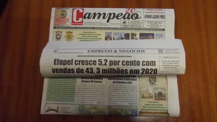 Jornal Campeão: Efapel cresce 5,2% e tem vendas de 43,3 milhões de euros