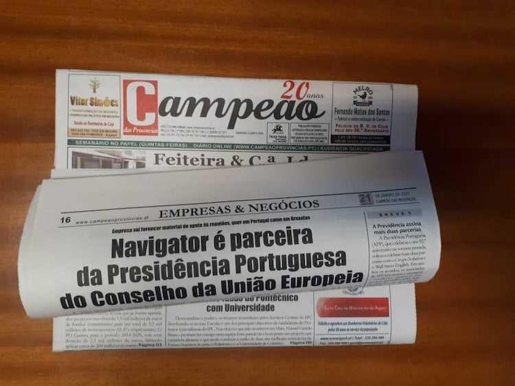 Jornal Campeão: Navigator é parceira na Presidência Portuguesa do Conselho da União Europeia