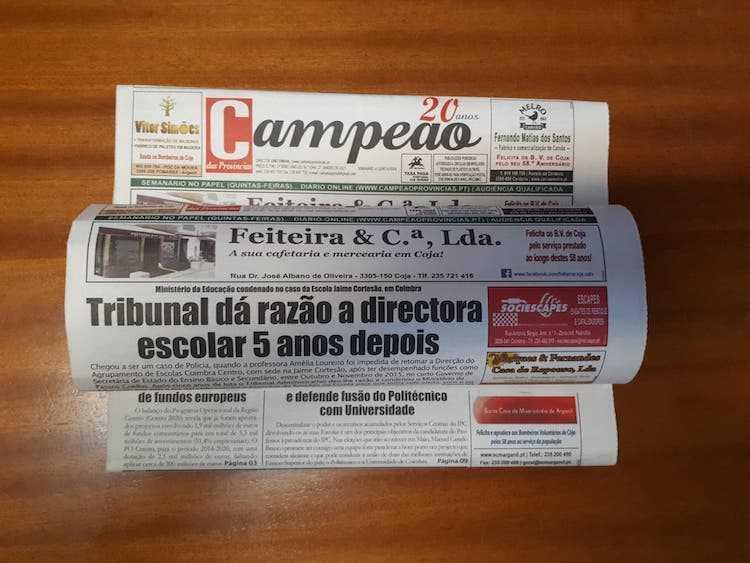 Jornal Campeão: Em Coimbra, Tribunal dá razão a directora escolar 5 anos depois