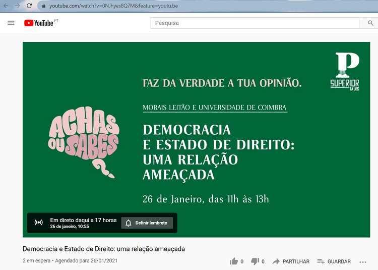 """Jornal Campeão: UC em destaque na """"PSuperior Talk"""" para debater Democracia e Estado de Direito"""