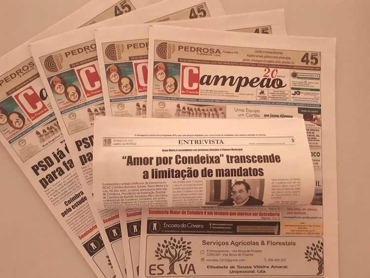 """Jornal Campeão: Entrevista a Nuno Moita: """"Amor por Condeixa"""" transcende a limitação de mandatos"""