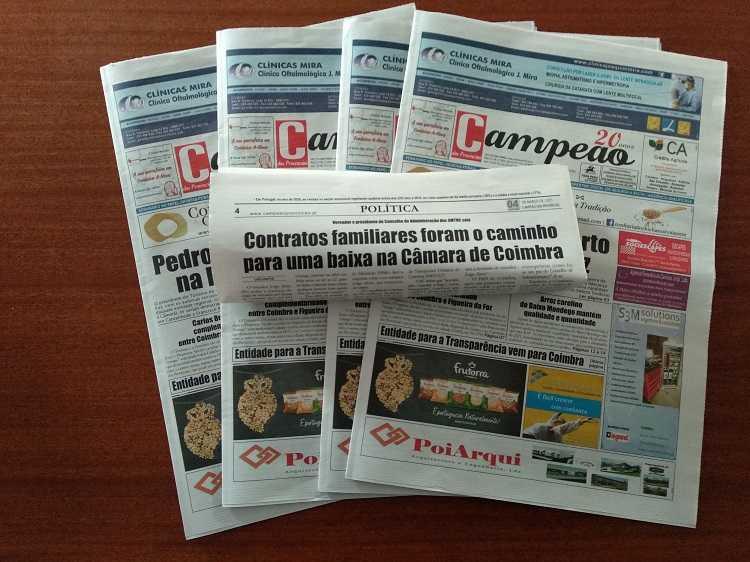 Jornal Campeão: Contratos familiares foram o caminho para uma baixa na Câmara de Coimbra