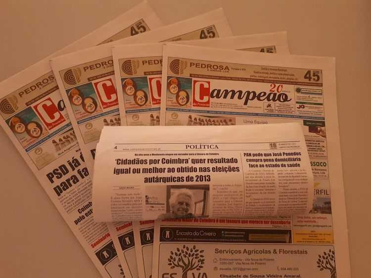 Jornal Campeão: Cidadãos por Coimbra quer resultado igual ou melhor ao obtido nas eleições de 2013