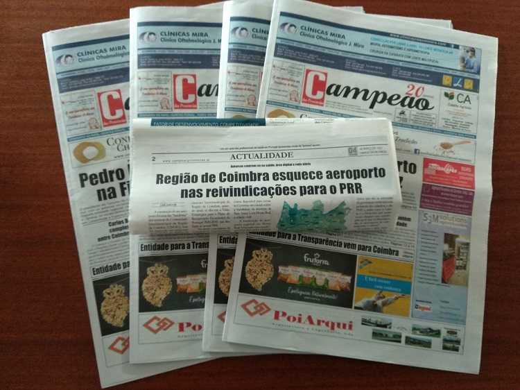 Jornal Campeão: Região de Coimbra esquece aeroporto nas reivindicações para o PRR