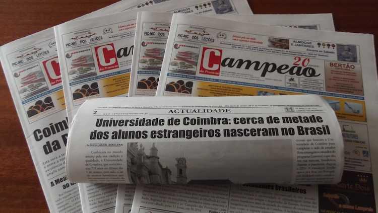 Jornal Campeão: Universidade de Coimbra: cerca de metade dos alunos estrangeiros nasceram no Brasil