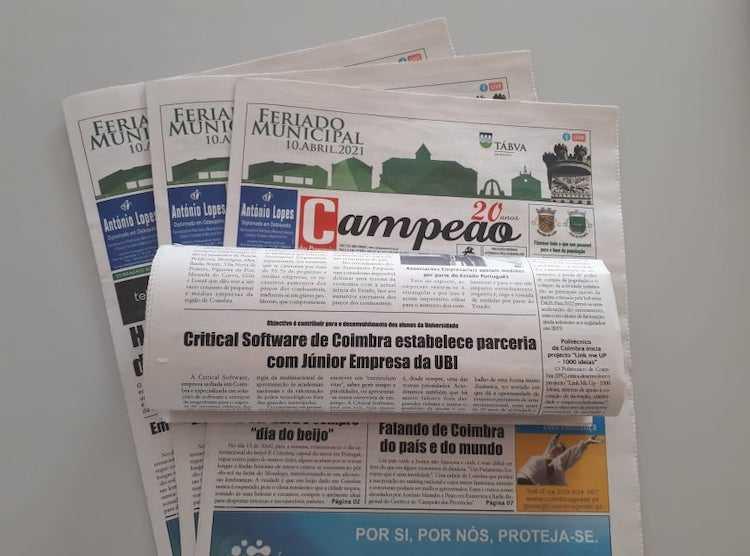 Jornal Campeão: Critical Software de Coimbra estabelece parceria com Júnior Empresa da UBI