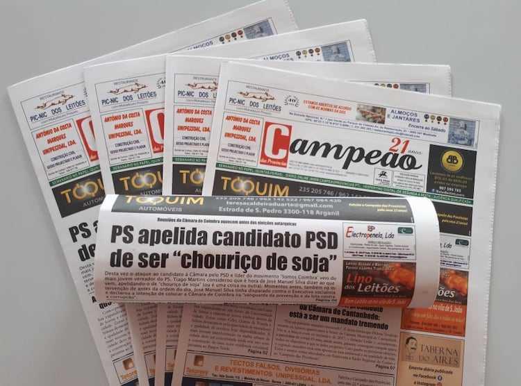 """Jornal Campeão: PS apelida candidato PSD de ser """"chouriço de soja"""""""