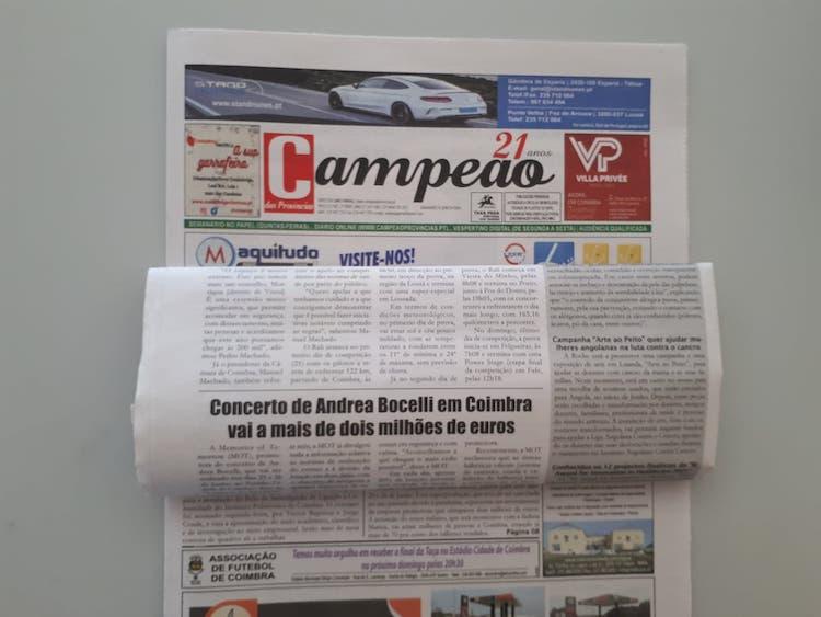 Jornal Campeão: Andrea Bocelli em Coimbra envolve 2 milhões de euros e já está a 70% da lotação