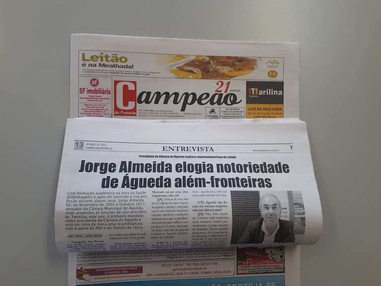 Jornal Campeão: Jorge Almeida elogia notoriedade de Águeda além-fronteiras