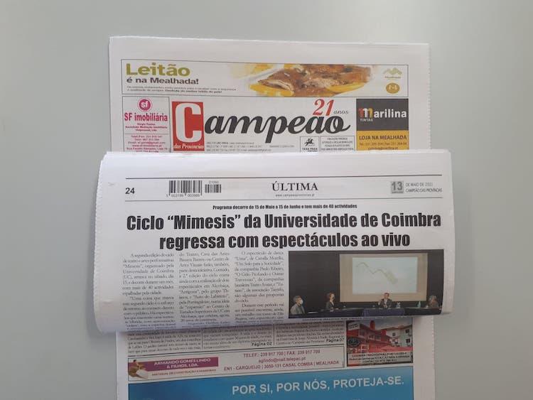 """Jornal Campeão: Ciclo """"Mimesis"""" da Universidade de Coimbra  regressa com espectáculos ao vivo"""