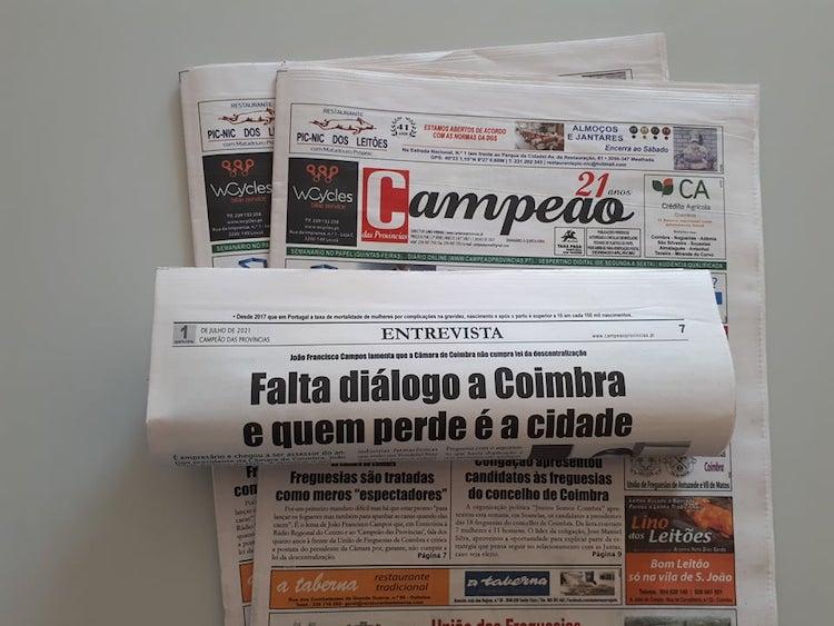 Jornal Campeão: Entrevista a João Francisco Campos: Falta diálogo a Coimbra e quem perde é a cidade