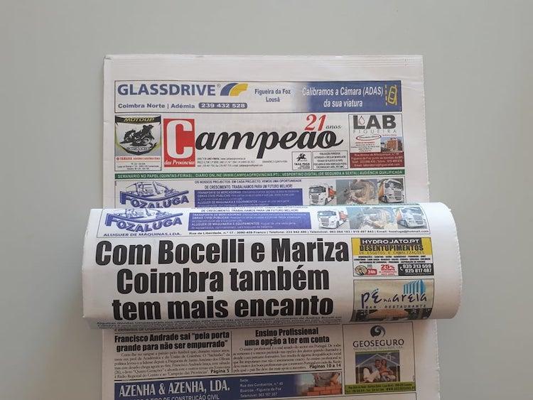 Jornal Campeão: Com Bocelli e Mariza Coimbra também tem mais encanto