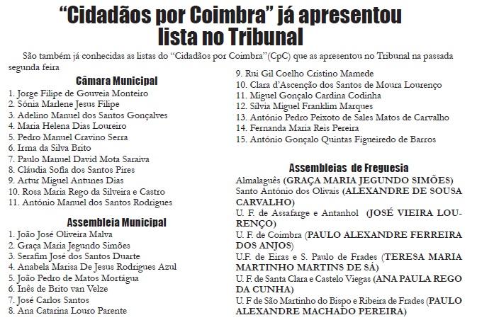 """Jornal Campeão: """"Campeão"""" revela listas completas do """"Cidadãos por Coimbra"""""""