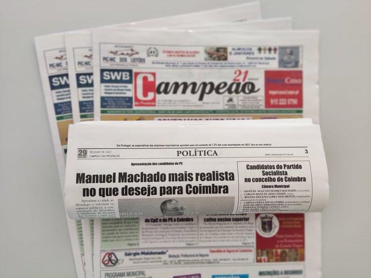 Jornal Campeão: Manuel Machado mais realista no que deseja para Coimbra