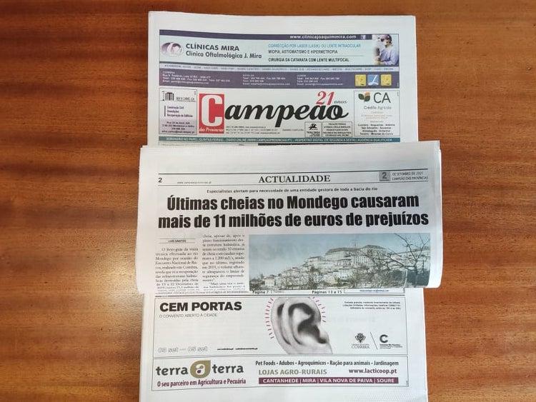 Jornal Campeão: Últimas cheias no Mondego causaram mais de 11 milhões de euros de prejuízos