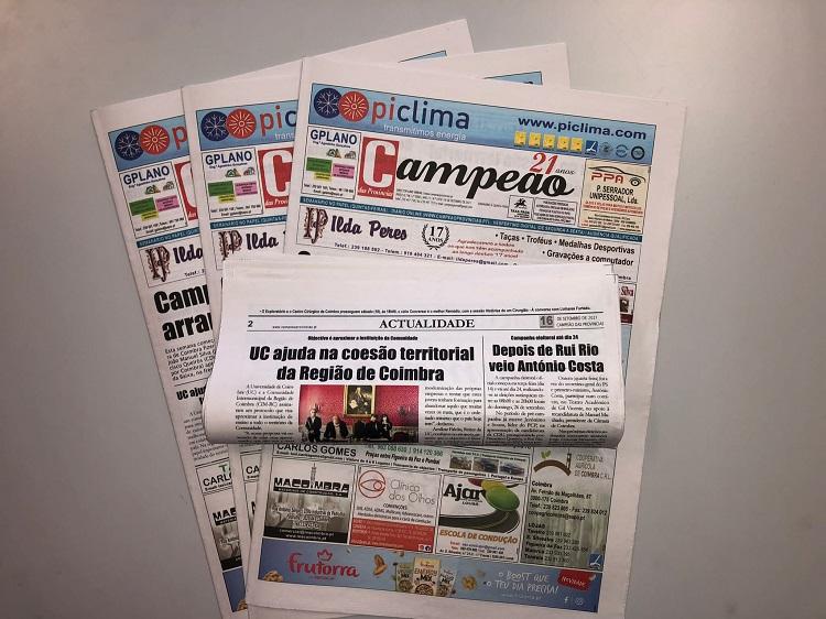 Jornal Campeão: UC ajuda na coesão territorial da Região de Coimbra