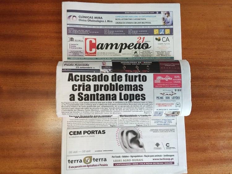 Jornal Campeão: Acusado de furto cria problemas a Santana Lopes