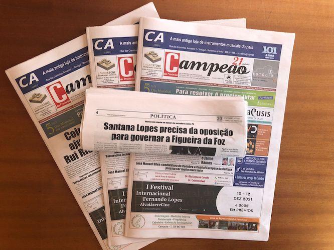 Jornal Campeão: Santana Lopes precisa da oposição para governar a Figueira da Foz