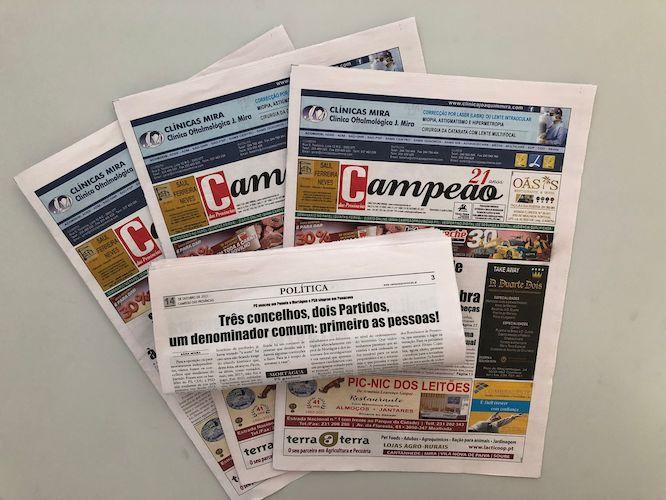 Jornal Campeão: Três concelhos, dois Partidos,  um denominador comum: primeiro as pessoas!